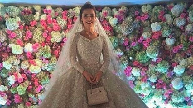 The bride, Khadija Uzhakhovs, wore a bespoke Ellie Saab dress that cost US$25,000.