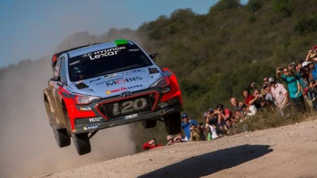 Haydon Paddon in the Hyundai i20 WRC car