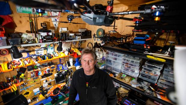 08052016 News Photo Andy Jackson/Fairfax NZ.  Quad Cam Drones Ltd operations manager Bevin Lealand builds and modifies ...