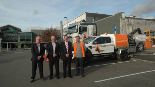 On site ahead of a construction start this week are The Mall manager Grant Burns, Upper Hutt mayor Wayne Guppy, Ganson ...