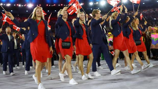 Danish athletes at the Rio Olympics opening ceremony. Will the women in this team face more than the usual Olympian ...