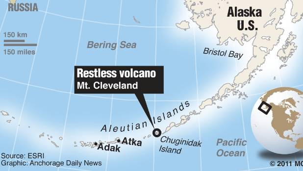A map showing Alaska's Aleutian Islands, and highlighting the Mount Cleveland volcano.
