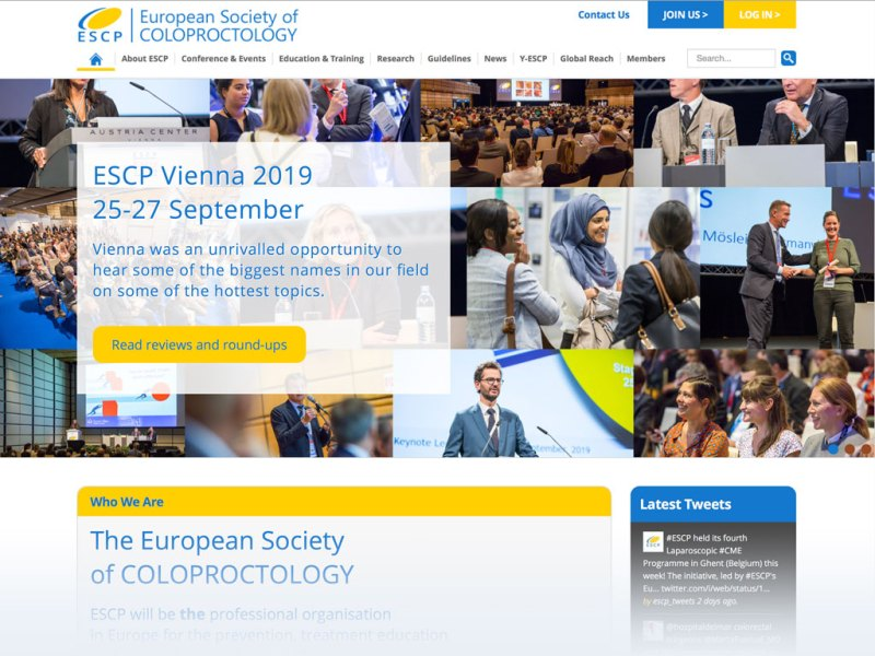 European Society of Coloproctology website homepage