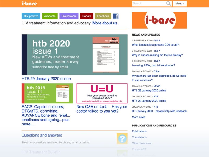 HIV i-base website homepage