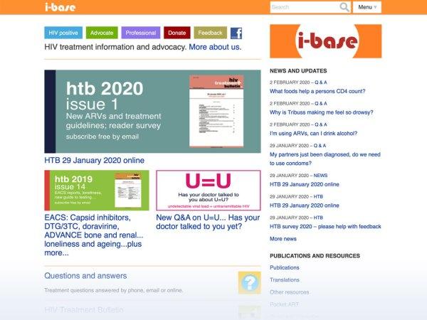 HIV i-base website homepage