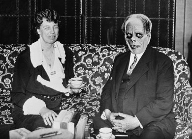 First Lady Eleanor Roosevelt entertains the Phantom at tea. July 27, 1933