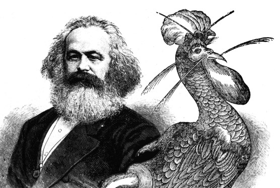Karl Marx and the Marxist party mascot, July 27, 1875