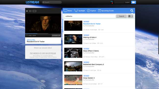 Ustream new design