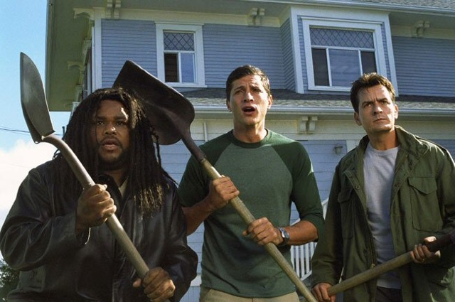 Anthony Anderson, Simon Rex, and Charlie Sheen in Scary Movie 3