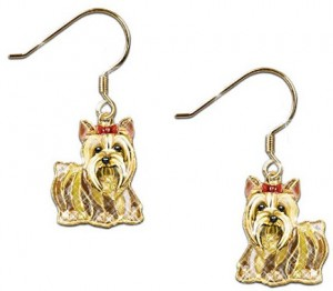 Yorkie Earrings With Swarovski Crystals