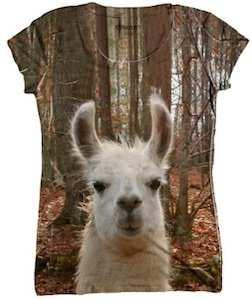 Women's lama face t-shirt
