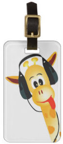 Giraffe With Headphones Luggage Tag