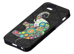Elephant Colorful Retro Flower iPhone 5 Case