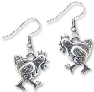 The Magic Zoo Pewter Chicken Earrings