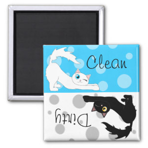 Black And White Cats Clean Dirty Dishwasher Magnet