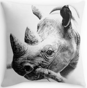 Black And White Rhino Pillow