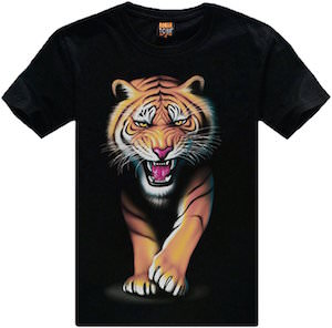 Tiger Walking Out Of This T-Shirt