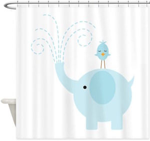 blue showering elephant and bird shower curtain