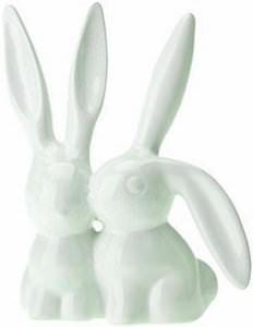 Ceramic Kissing Bunnies Rabbits Ring Holder