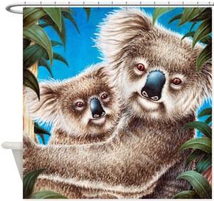 Koala Mom And Baby Shower Curtain
