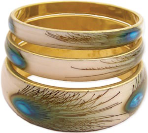 Set of 3 gold Peacock Feather Bangle Bracelets