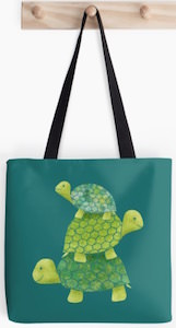 Green Turtle Stack Tote Bag