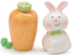 Easter Bunny And Carrot Salt And Pepper Shaker Set