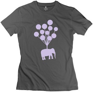 Elephant Flying With Balloons Women's T-Shirt