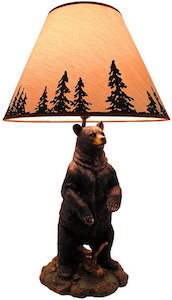 Grizzly Bear Table Lamp With Forest Shade