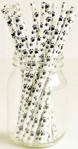 Paw Print Drinking Straws