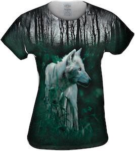 Forest green wolf t-shirt for women