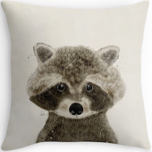 Raccoon face Throw Pillow