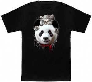 Cat On A Panda Bear T-Shirt