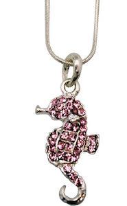 Seahorse Rhinestone Charm Necklace