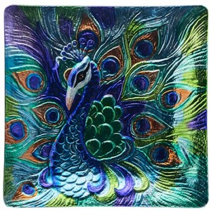 Stained Glass Peacock Square Plate