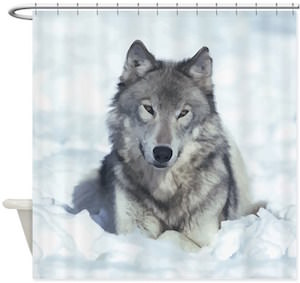 Wolf Lying In The Snow Shower Curtain
