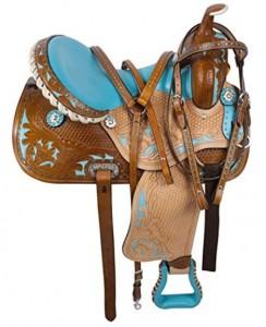 Blue Leather Horse Barrel Racer Saddle