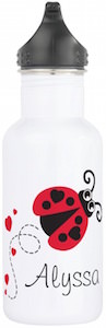 Personalized Ladybug And Hearts Water Bottle