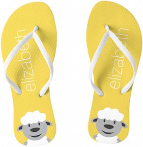 Yellow Personalized Sheep Flip Flops