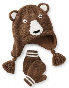 Brown Bear Peruvian Hat And Mittens