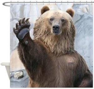 hello bear shower curtain