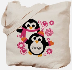 Personalized Penguin Tote Bag