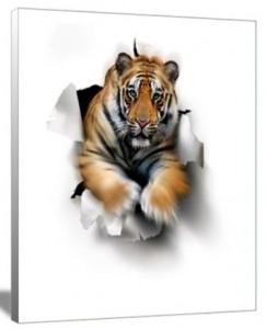 Tiger Breakthrough Canvas Art Print