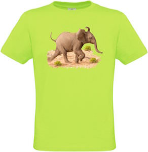 Kids Neon Green Baby Elephant T-Shirt