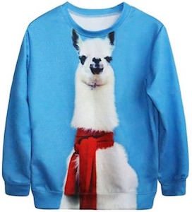Llama In A Red Scarf Sweater