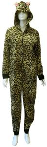 Leopard Print Hooded Onsie Pajama