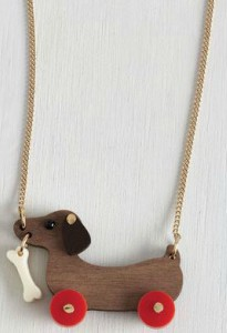 Little Wooden Pull Dachshund Necklace