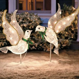 Christmas Peace Doves Lighted Lawn Ornaments