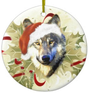 Santa Wolf Christmas Ornament