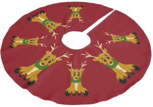 Scruffy Reindeer Christmas Tree Skirt